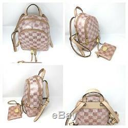 Michael Kors Pink Bag XS Rhea Signature Rose Gold Checkerboard Backpack Set Rare
