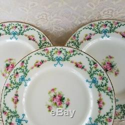 Mintons Dinner Plates Set of 9 Hand Decorated H1751 Pink Roses Blue Bows Rare