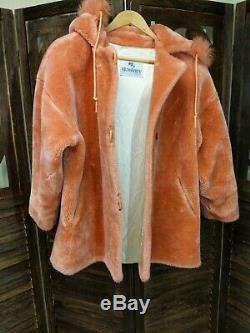 Monterey Fashions Faux Fur Coat Hood Rose Salmon Color vintage rare