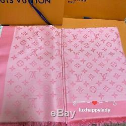 NEW AUTH LOUIS VUITTON Monogram Denim Shawl Scarf Rose Petal Pink GIFT RARE