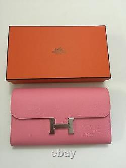 NEW Auth Hermes Constance Wallet clutch In RARE Rose Confetti Pink Epsom Leather