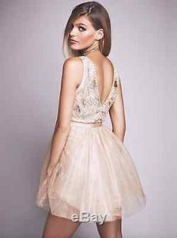 NEW Free People Deja Vu Embellished Mini Dress Rose Gold Tulle RARE! Retail $300