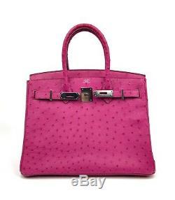 NEW Hermes Birkin 30 Rose Pourpre Ostrich Pink Palladium Hardware RARE