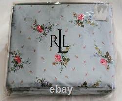 NIP Ralph Lauren Garden Cove Blue Twin Sheet SET Pink Floral Roses Cottage Rare