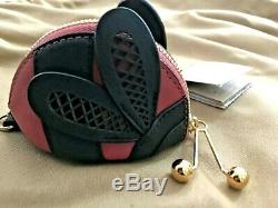 NWT BURBERRY Rose Pink LADYBUG leather Key Chain/Coin Purse -RARE FIND