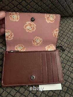 NWT Coach 1941 Wine/ Rose Floral Foldover Card Case Wallet # 31853 RARE