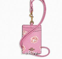 NWT Coach ID Lanyard RARE Rose Pink Badge Holder Credit Card Pass Case F 32455