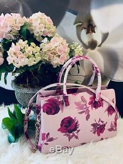 NWT Kate Spade Olivera Pink Plum dawn Emerson Place Roses Italian leather RARE
