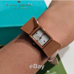 NWT Kate Spade Rose Gold Tone Bow Carlyle Blush Pink Leather Strap Watch! RARE