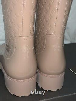 New Rare Louis Vuitton LV Monogram Splash Rain Boots Rose Pink 41 10 10.5 US