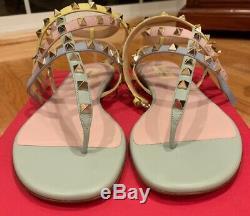 New Rare Valentino Rockstud Flat Sandals Size 39.5 Water Rose $975