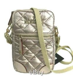New withtag. MZ WALLACE Crossbody Phone Bag Metaliic Rose Gold. Rare Color