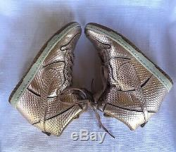 Nike Dunk Sky Hi Wedge High Top Sneakers Metallic Rose Gold Snake Women 7 RARE