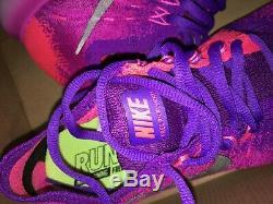 Nike Free RN Flyknit 2017 Women's Hyper Grape Rose 880844-600 OG Fire Pink Rare