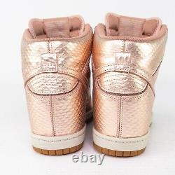 Nike Sneaker Sky Hi Dunks Wedge High Tops Rose Gold Snake Womens Size 6 RARE