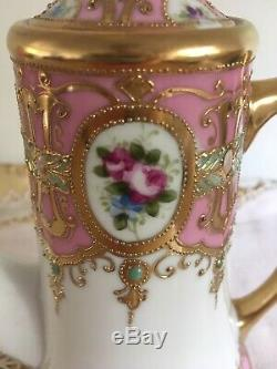 Noritake Pink Roses Rosebuds Encrusted With Gold Teapot Coffee Pot Small Rare