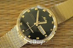 Nos Mido 8429 Automatic Gold Commander Rare Black Datoday Dial Watch & Box Set