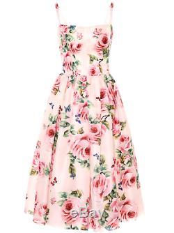 Nwt Rare Dolce&gabbana Rose Silk Organza Cupcake MIDI Dress Gown. It44 Us6-us8