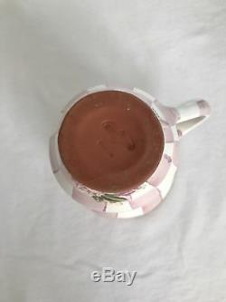 One MACKENZIE-CHILDS Pottery Pink Rose Petal Honeymoon CHECK Mug Cup VERY RARE