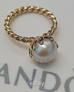 PANDORA 14K GOLD ROSE PEARL DIAMOND RING NEW 150110P RARE Retired 6.5 53 585