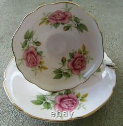 PARAGON Pink Cabbage Roses Teacup and Saucer Set RARE Six Roses Vintage Stunning