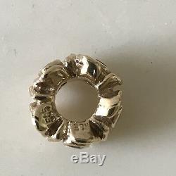 Pandora 14K Gold Peridot Rose Charm 750377PE HTF Rare Retired