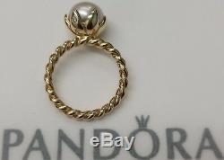 Pandora 14k Gold Rose Pearl Diamond Ring New 150110p 53 Rare Retired 6.5 585
