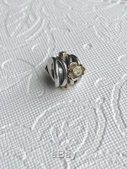 Pandora 14k Gold and silver Peridot Rose Diamond Charm 790381D- RARE
