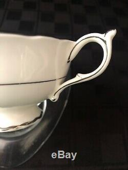 Paragon Tea Cup Saucer Rare Silver Platinum Pink Rose Double Warrant