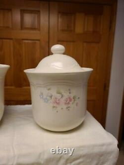 Pfaltzgraff Tea Rose Canister Set (4) Extremely Rare Lids. Ex. Condition