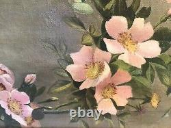 RARE19c PINK WILD ROSES OIL PAINTING + Carved Strawberry Berry Wood FrameGrant