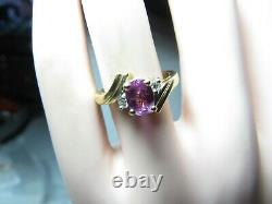 RARE 14K SOLID YELLOW GOLD RING With DUSTY ROSE NATURAL SAPPHIRE & DIAMONDS