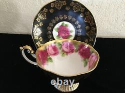 RARE 1930s Royal Albert OLD ENGLISH ROSE black pedestal Gold Gilt Cup & Saucer