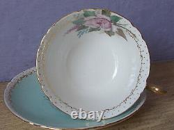 RARE 1940's artist signed pink rose blue bone china tea cup teacup and saucer