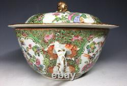 RARE 19th C Tongzhi Chinese Famille Rose Canton Covered Bowl Tureen Porcelain