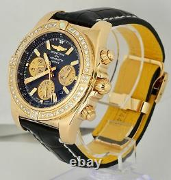 RARE 2013 Breitling Chronomat DIAMOND 18K Rose Gold Black 44mm HB0110 Mens Watch