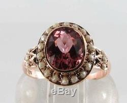 RARE 9CT ROSE GOLD 9mm x 7mm AAA PINK TOURMALINE & PEARL VINTAGE INS RING