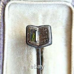 RARE Antique 15ct/15k 625 rose Gold Mourning hair forget me not stick/tie pin