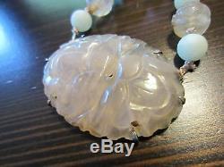RARE Antique Chinese Royal Shou Carved Rose Quartz Jade Sterling Silver Necklace