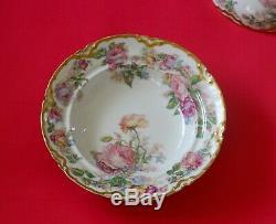 RARE Antique HAVILAND LIMOGES Covered Pancake Dish Pink Blue Rose Lavish GOLD