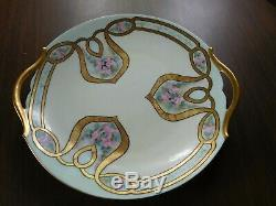 RARE Antique Limoges France T&V Handled Cake Plate Art Nouveau Pink Roses MINT
