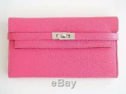 RARE Authentic NEW Hermes Kelly Long Wallet PINK Rose Lipstick Cherve Clutch PHW