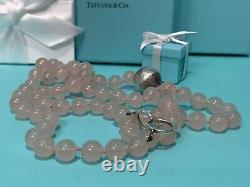 RARE Authentic Tiffany & Co Paloma Picasso Rose Quartz Hammered Silver Necklace
