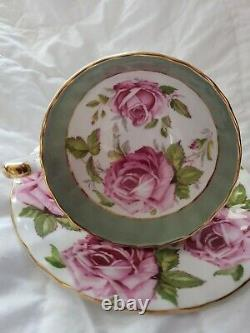 RARE Aynsley 8 Pink Cabbage Roses Teacup and Saucer- EXCELLENT-CELADON GREEN