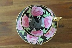 RARE Aynsley Black Cabbage Roses Teacup Tea Cup Saucer Pink Gold Gilded floating