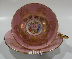 RARE Aynsley signed BAILEY ROSE & POPPY Pedestal CUP & SAUCER Pink Colorway MINT