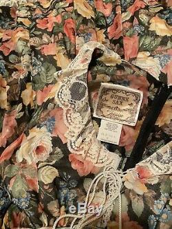 RARE Gunne Sax by Jessica McClintock Dark Rose Garden Corset Maxi Dress Size 5