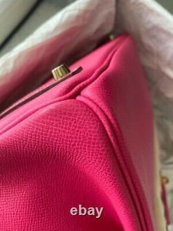 RARE! Hermes Epsom Birkin 35 Candy Rose Tyrien #Q GHW
