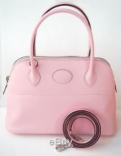 RARE! Hermes NEW Bolide 27 cm Rose Sakura PINK Tote Shoulder Bag PM