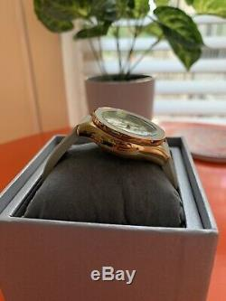 RARE MICHELE Cape Chronograph Watch In Taupe/Rose Gold